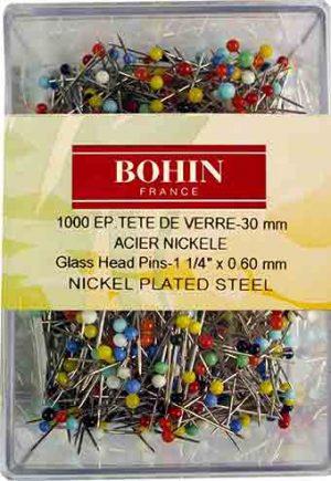 GLASS HEAD PIN,ASTD COL,150PCS (BOHIN/26599)