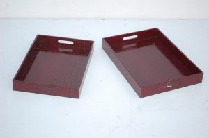 LEATHER TRAY:S/2 (JS-0573)