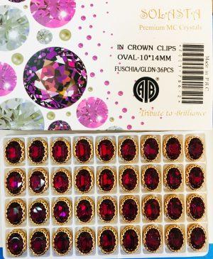 CRYSTAL STONES:36PC (OVAL-10X14/FUSCHIA)